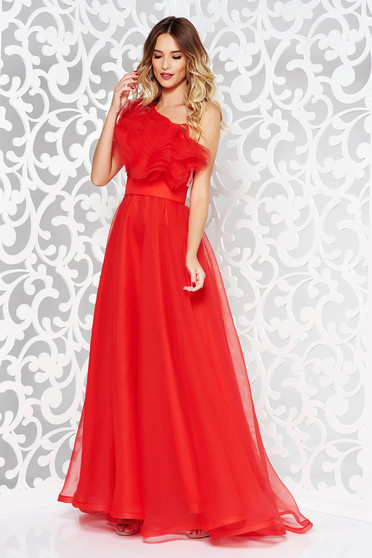 Ana Radu red dress luxurious from tulle with inside lining with ruffles on the chest one shoulder