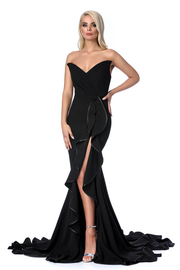 Ana Radu black luxurious mermaid dress with ruffle details off shoulder