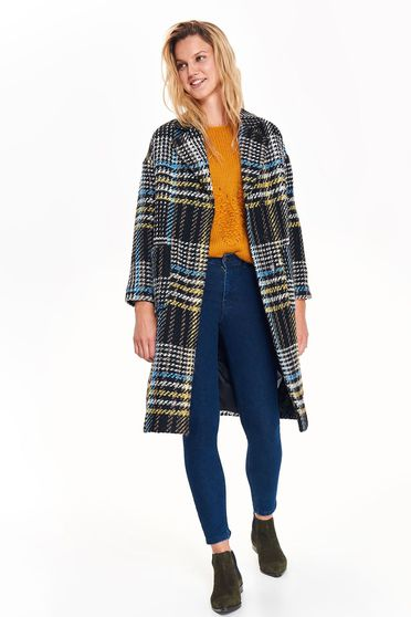 Top Secret blue casual straight coat from thick fabric plaid fabric