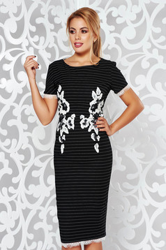 LaDonna black midi pencil dress with tented cut slightly elastic fabric with embroidery details