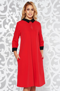 Red elegant flared dress slightly elastic fabric with bright details with pockets