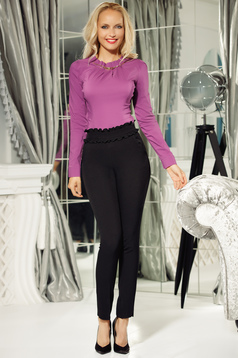 Fofy black conical high waisted trousers with tented cut