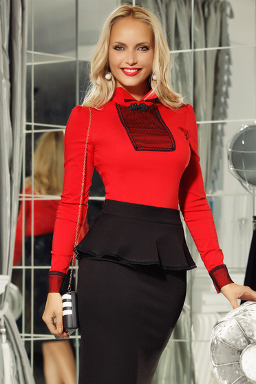 Fofy red office women`s shirt slightly elastic cotton with tented cut