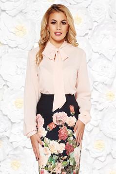 StarShinerS peach elegant flared women`s blouse voile fabric