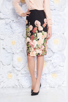 StarShinerS black office midi pencil skirt slightly elastic fabric with floral prints
