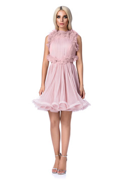 Ana Radu rosa luxurious cloche dress from tulle with inside lining with cut back