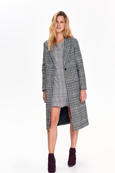 Top Secret black casual coat with straight cut from thick fabric plaid fabric