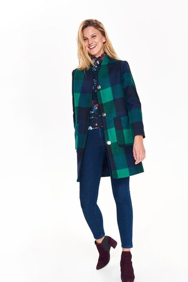 Top Secret green casual flared coat from thick fabric plaid fabric