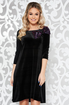 StarShinerS black occasional flared velvet dress bow accessory with sequins