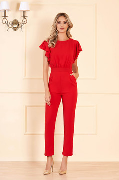 Red occasional jumpsuit with tented cut from elastic fabric with cut back with pockets