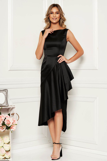 Black occasional asymmetrical sleeveless dress from satin fabric texture with ruffle details