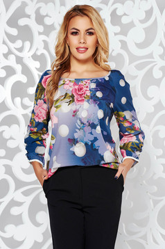 Darkblue office flared women`s blouse nonelastic fabric with 3/4 sleeves