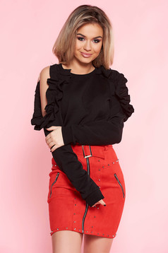 Top Secret black casual flared women`s blouse nonelastic cotton both shoulders cut out with ruffle details