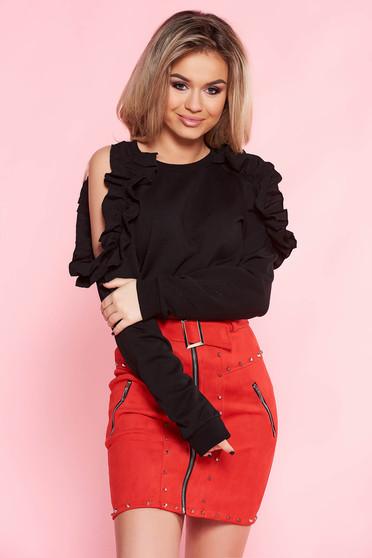 Top Secret black casual flared women`s blouse nonelastic cotton both shoulders cut out with ruffle details