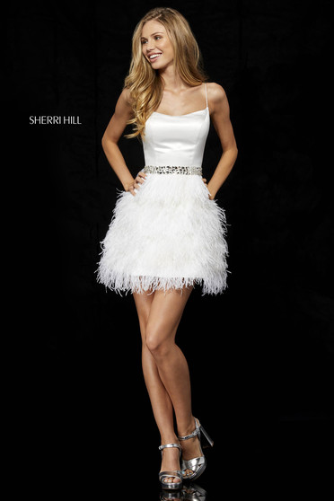 Dress Sherri Hill white luxurious short cut with straps feather details
