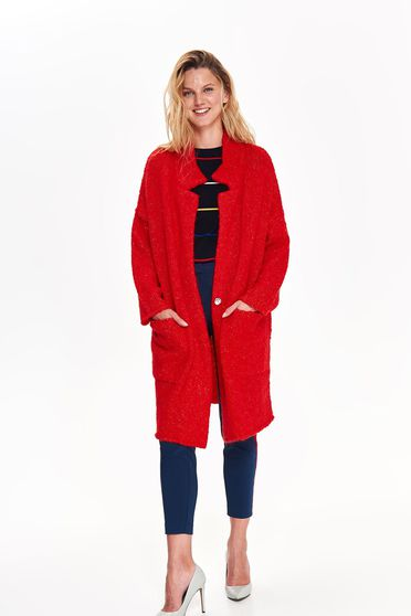 Top Secret red casual long cardigan with easy cut knitted fabric