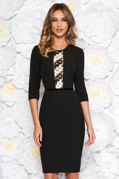 StarShinerS black elegant pencil dress 3/4 sleeve slightly elastic fabric front embroidery