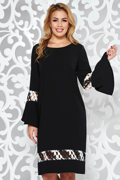 StarShinerS black elegant flared dress slightly elastic fabric with embroidery details