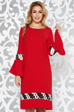 StarShinerS red elegant flared dress slightly elastic fabric with embroidery details
