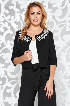 StarShinerS black elegant bolero jacket with straight cut slightly elastic fabric with embroidery details
