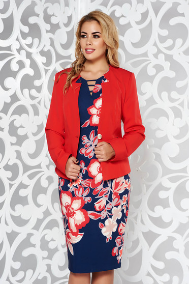 Red office lady set nonelastic fabric with inside lining with floral prints