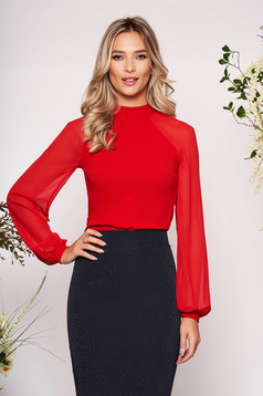 StarShinerS red women`s blouse elegant from elastic fabric long sleeved with easy cut