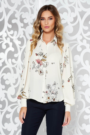 PrettyGirl white office flared women`s shirt nonelastic fabric with puffed sleeves