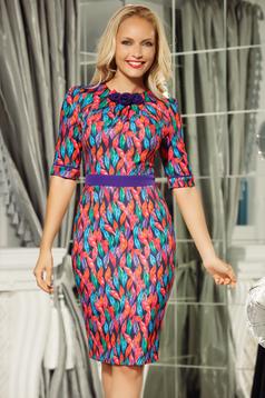 Fofy purple midi office pencil dress slightly elastic fabric soft fabric accessorized with tied waistband
