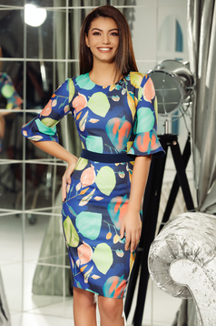 Fofy darkblue daily pencil dress slightly elastic fabric with ruffled sleeves accessorized with tied waistband