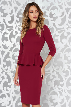 StarShinerS burgundy office midi pencil dress from elastic fabric with frilled waist