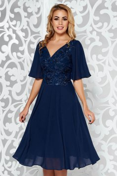 Darkblue occasional cloche dress voile fabric with inside lining from laced fabric with sequin embellished details
