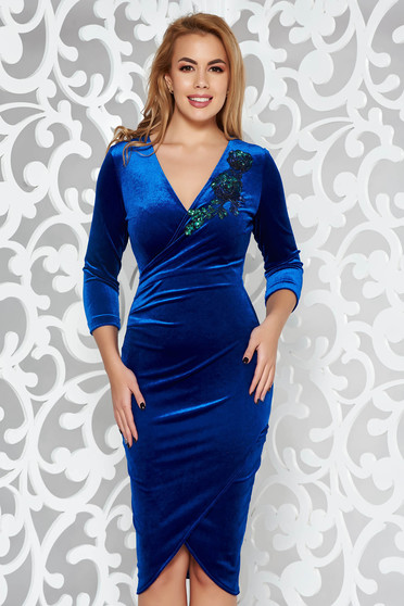 StarShinerS blue occasional velvet dress with tented cut with sequin embellished details wrap around