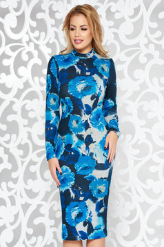 StarShinerS blue dress daily midi turtleneck knitted fabric long sleeved with tented cut