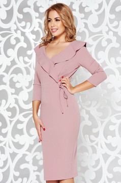StarShinerS rosa elegant pencil dress from elastic fabric with v-neckline