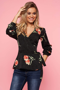 Top Secret black casual flared women`s blouse nonelastic fabric with v-neckline