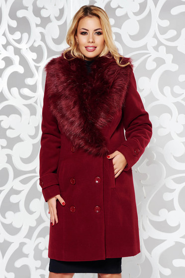 Burgundy elegant cloth coat straight with inside lining fur collar with pockets