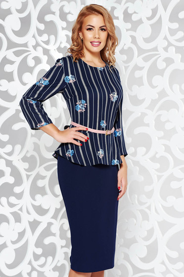 Darkblue office pencil dress slightly elastic fabric frilled accessorized with belt