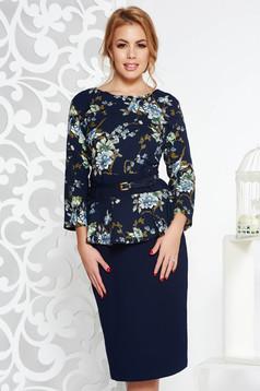 Black elegant midi dress slightly elastic fabric with frilled waist accessorized with belt
