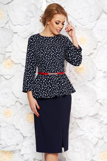Darkblue elegant pencil dress slightly elastic fabric frilled accessorized with belt