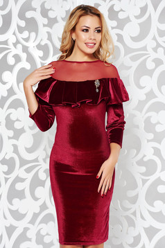 Burgundy occasional velvet dress with tented cut with net accessory accessorized with breastpin