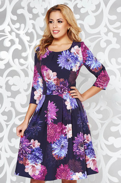 Black elegant cloche dress slightly elastic fabric with floral print