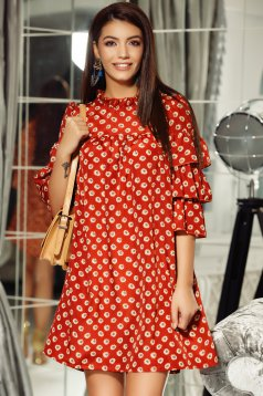 Fofy bricky daily flared dress airy fabric with ruffled sleeves