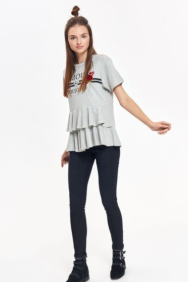 Top Secret grey casual flared women`s blouse cotton with print details with ruffle details