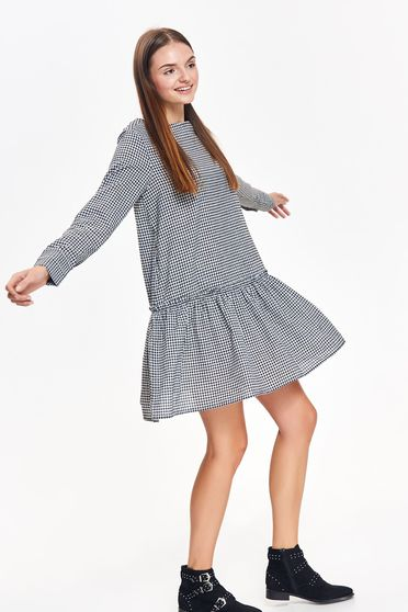 Top Secret black daily flared dress cotton plaid fabric with ruffles at the buttom of the dress