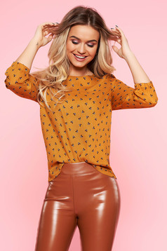 Top Secret orange casual flared women`s blouse airy fabric 3/4 sleeve