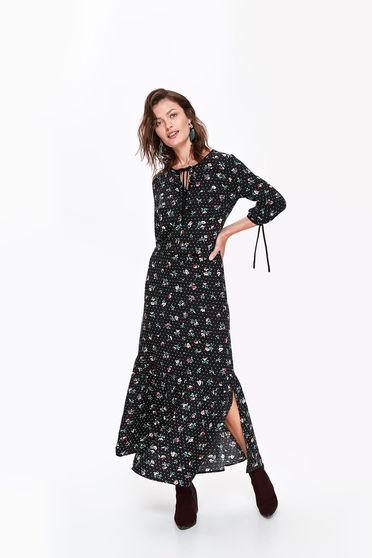 Top Secret black long cloche dress airy fabric 3/4 sleeve