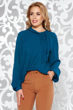Darkgreen elegant from veil fabric flared women`s blouse long sleeved