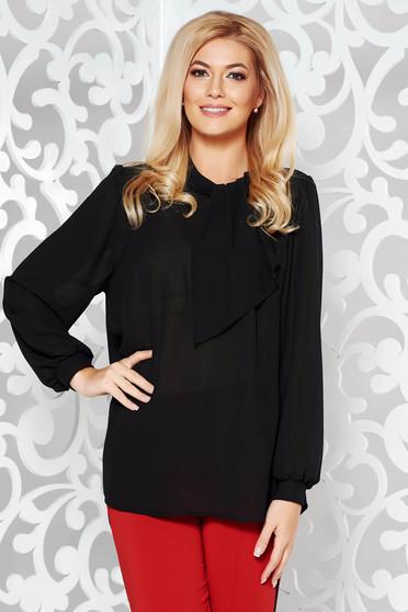 Black elegant from veil fabric flared women`s blouse long sleeved