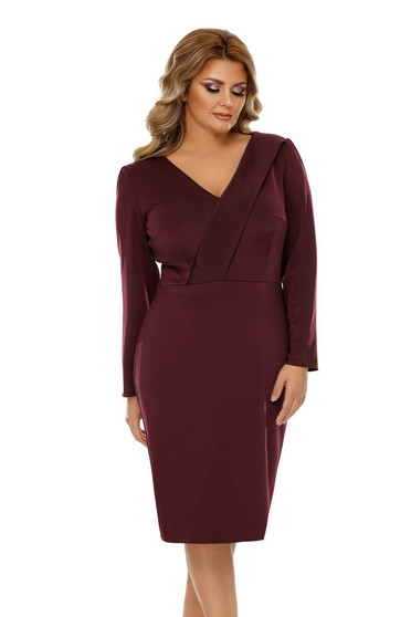 Burgundy elegant pencil dress slightly elastic fabric with inside lining with v-neckline