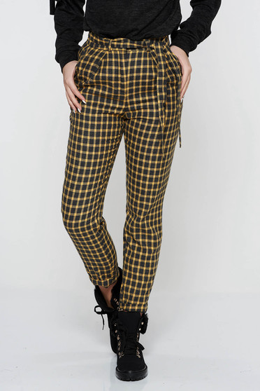 StarShinerS mustard casual conical trousers from non elastic fabric with pockets accessorized with tied waistband high waisted